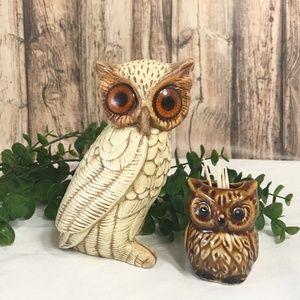 Vintage Owls Figurine and Toothpick Holder